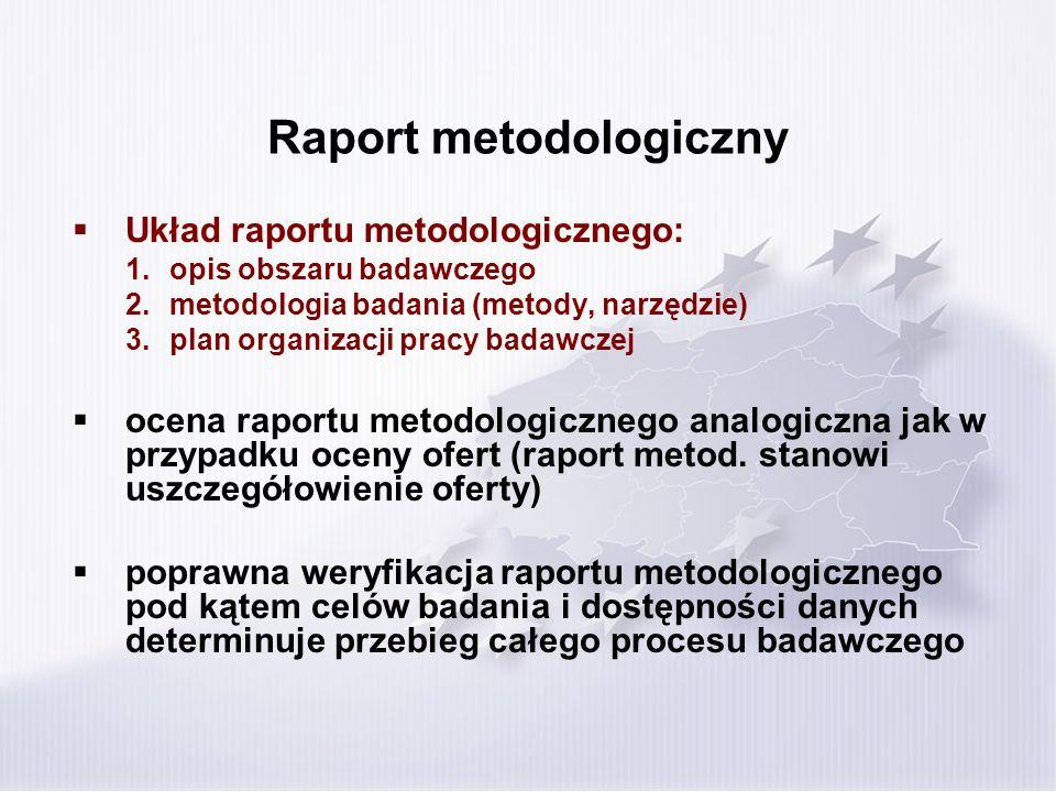 Raport metodologiczny Układ raportu metodologicznego: 1.opis obszaru badawczego 2.metodologia badania (metody, narzędzie) 3.plan organizacji pracy badawczej ocena raportu metodologicznego analogiczna jak w przypadku oceny ofert (raport metod.