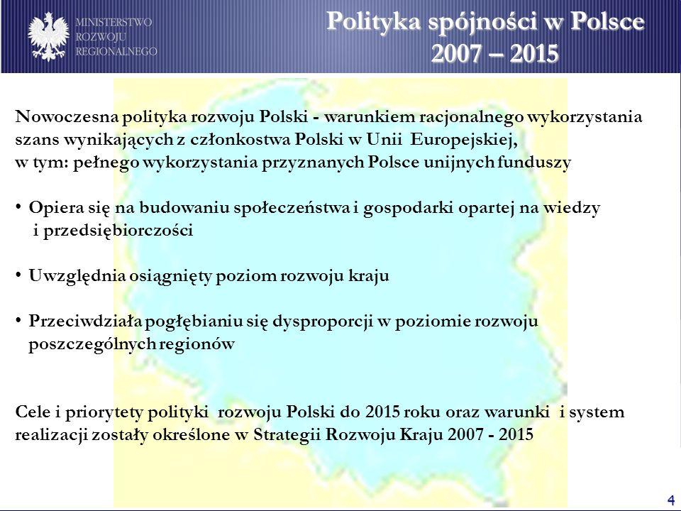 4 Polityka spójności w Polsce 2007 – 2015 Nowoczesna polityka rozwoju Polski - warunkiem racjonalnego wykorzystania szans wynikających z członkostwa Polski w Unii Europejskiej, w tym: pełnego wykorzystania przyznanych Polsce unijnych funduszy Opiera się na budowaniu społeczeństwa i gospodarki opartej na wiedzy i przedsiębiorczości Uwzględnia osiągnięty poziom rozwoju kraju Przeciwdziała pogłębianiu się dysproporcji w poziomie rozwoju poszczególnych regionów Cele i priorytety polityki rozwoju Polski do 2015 roku oraz warunki i system realizacji zostały określone w Strategii Rozwoju Kraju 2007 - 2015