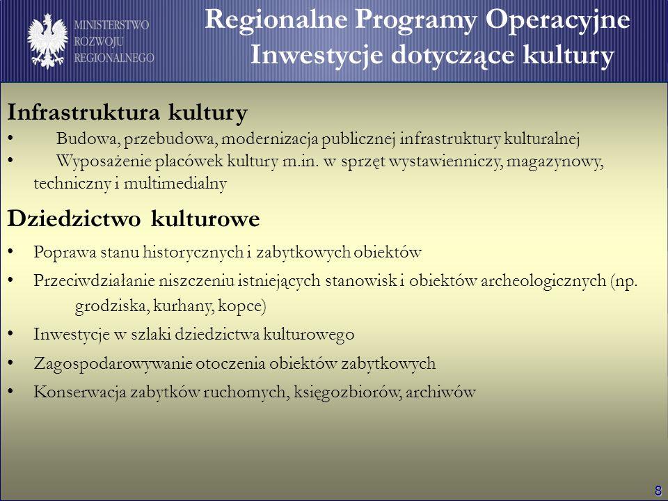 9 Regionalne Programy Operacyjne Wydatki dotyczące kultury Wydatki na kulturę w RPO: 643 mln euro (4 % alokacji)