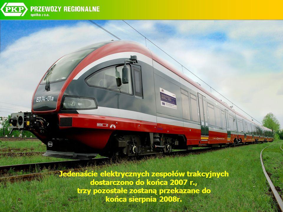 Jedenaście elektrycznych zespołów trakcyjnych dostarczono do końca 2007 r., trzy pozostałe zostaną przekazane do końca sierpnia 2008r.
