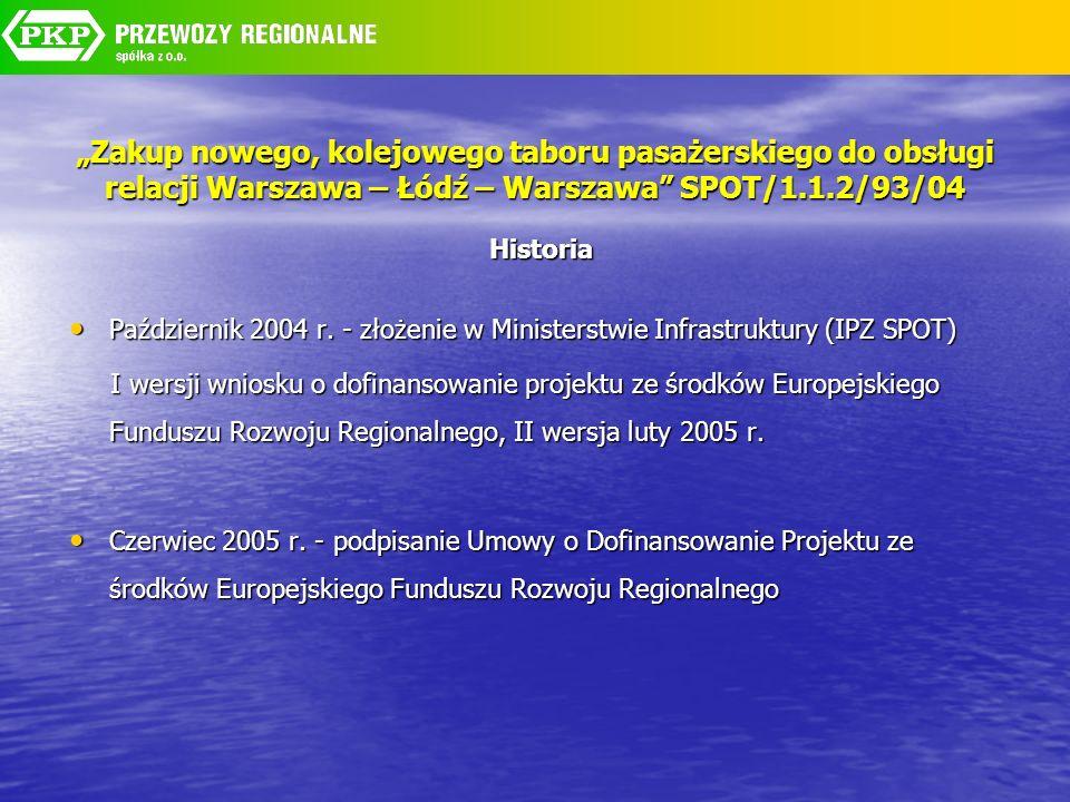 Zakup nowego, kolejowego taboru pasażerskiego do obsługi relacji Warszawa – Łódź – Warszawa SPOT/1.1.2/93/04 Historia Październik 2004 r. - złożenie w