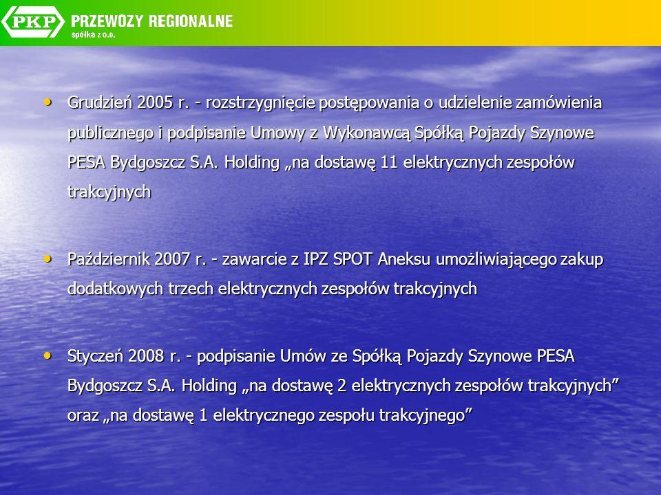Grudzień 2005 r. - rozstrzygnięcie postępowania o udzielenie zamówienia publicznego i podpisanie Umowy z Wykonawcą Spółką Pojazdy Szynowe PESA Bydgosz