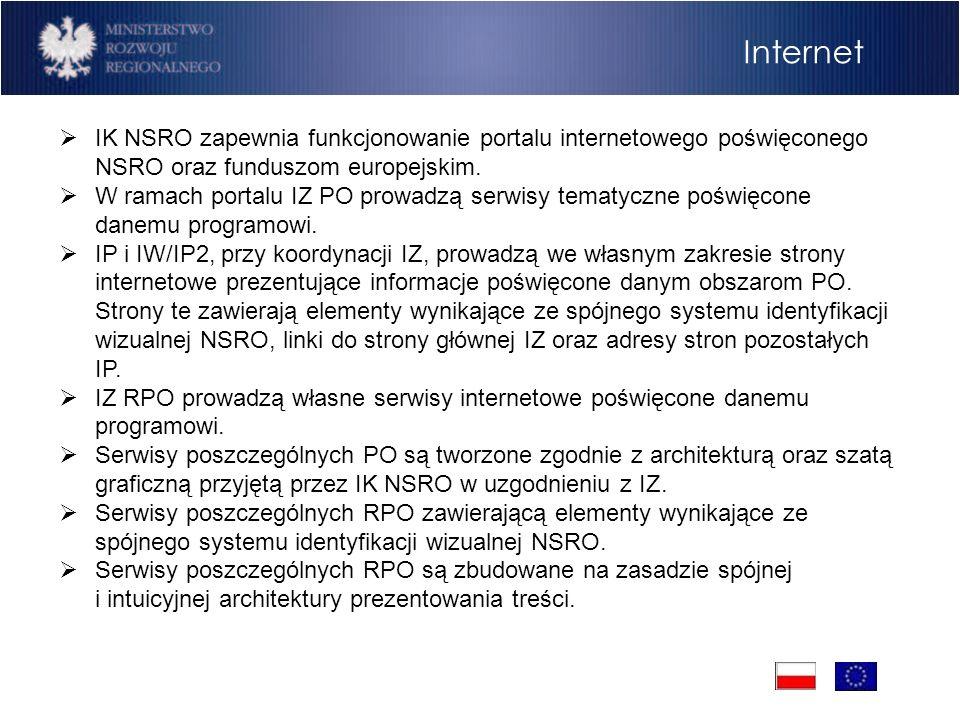 Internet IK NSRO zapewnia funkcjonowanie portalu internetowego poświęconego NSRO oraz funduszom europejskim.