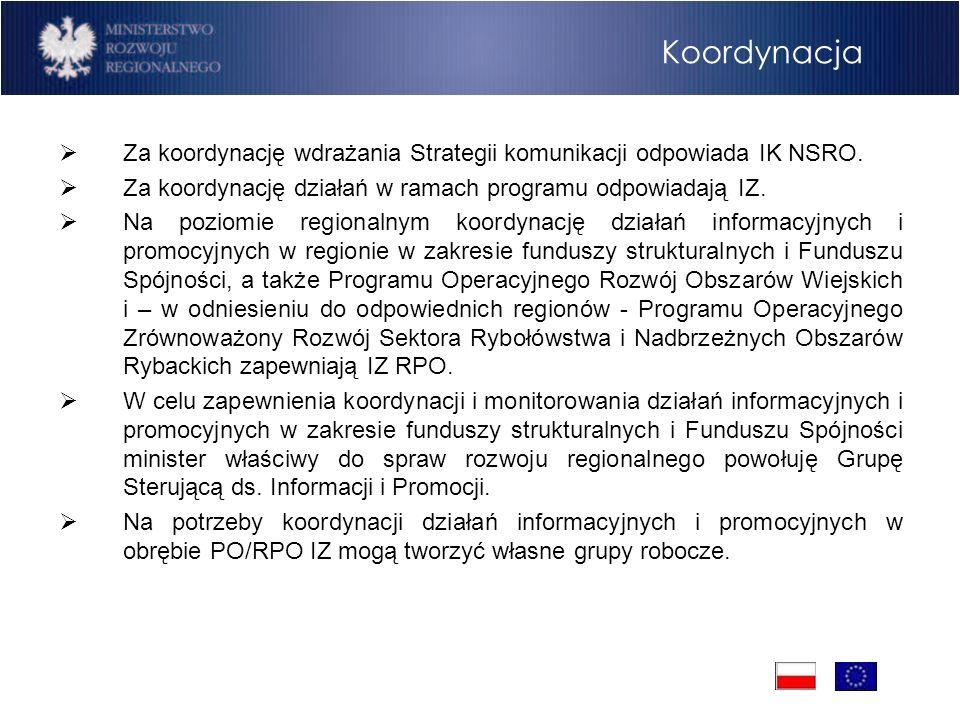 Koordynacja Za koordynację wdrażania Strategii komunikacji odpowiada IK NSRO. Za koordynację działań w ramach programu odpowiadają IZ. Na poziomie reg