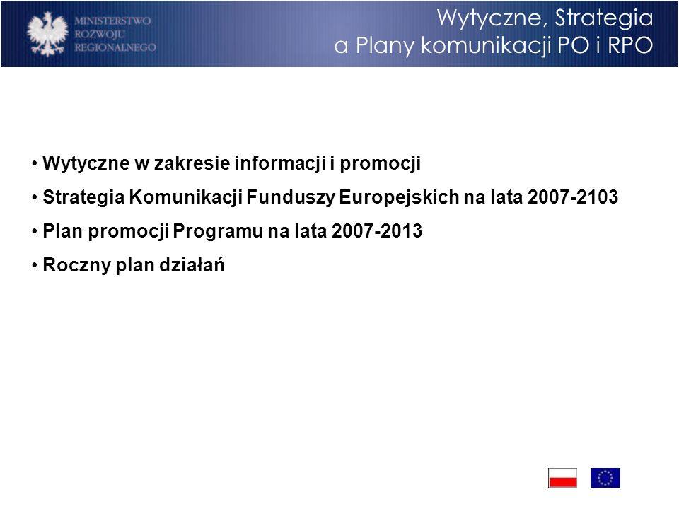 Program Operacyjny Rozwój Polski Wschodniej Cele Wytyczne, Strategia a Plany komunikacji PO i RPO Wytyczne w zakresie informacji i promocji Strategia