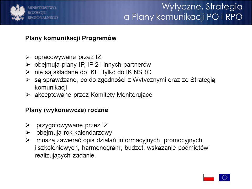 Program Operacyjny Rozwój Polski Wschodniej Cele Wytyczne, Strategia a Plany komunikacji PO i RPO Plany komunikacji Programów opracowywane przez IZ obejmują plany IP, IP 2 i innych partnerów nie są składane do KE, tylko do IK NSRO są sprawdzane, co do zgodności z Wytycznymi oraz ze Strategią komunikacji akceptowane przez Komitety Monitorujące Plany (wykonawcze) roczne przygotowywane przez IZ obejmują rok kalendarzowy muszą zawierać opis działań informacyjnych, promocyjnych i szkoleniowych, harmonogram, budżet, wskazanie podmiotów realizujących zadanie.