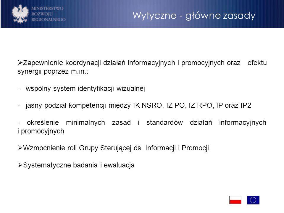 Wytyczne - główne zasady Zapewnienie koordynacji działań informacyjnych i promocyjnych oraz efektu synergii poprzez m.in.: - wspólny system identyfika