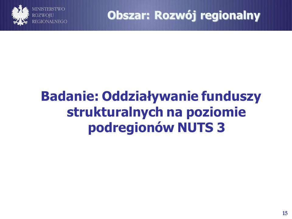 15 Obszar: Rozwój regionalny Badanie: Oddziaływanie funduszy strukturalnych na poziomie podregionów NUTS 3