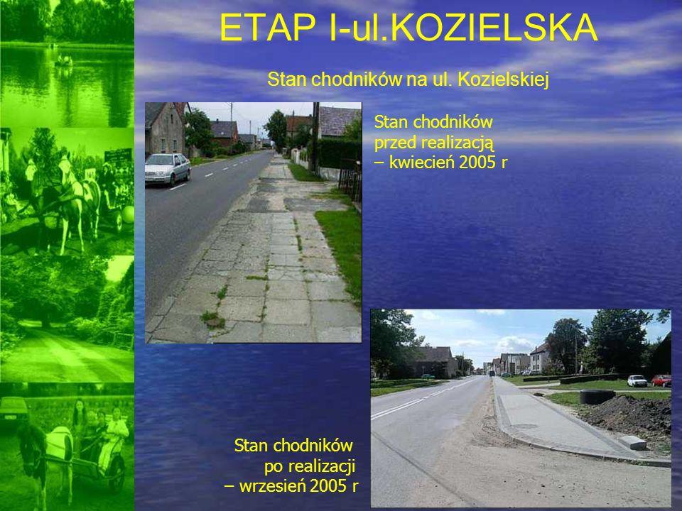 ETAP I-ul.KOZIELSKA Stan chodników na ul. Kozielskiej Stan chodników przed realizacją – kwiecień 2005 r Stan chodników po realizacji – wrzesień 2005 r