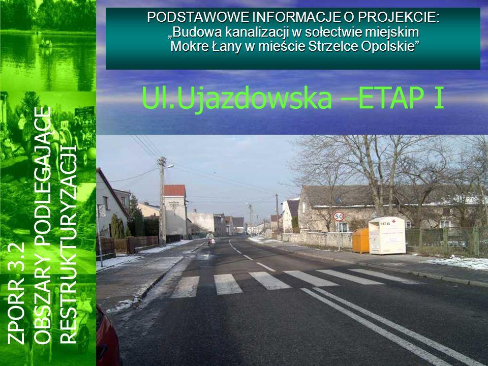 PODSTAWOWE INFORMACJE O PROJEKCIE: Budowa kanalizacji w sołectwie miejskim Mokre Łany w mieście Strzelce Opolskie ZPORR 3.2 OBSZARY PODLEGAJĄCE RESTRU