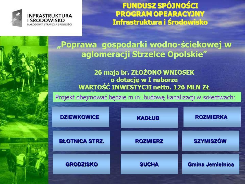 FUNDUSZ SPÓJNOŚCI PROGRAM OPEARACYJNY Infrastruktura i Ś rodowisko Poprawa gospodarki wodno-ściekowej w aglomeracji Strzelce Opolskie 26 maja br. ZŁOŻ