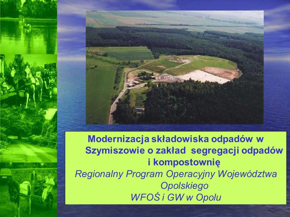 Modernizacja składowiska odpadów w Szymiszowie o zakład segregacji odpadów i kompostownię Regionalny Program Operacyjny Województwa Opolskiego WFOŚ i