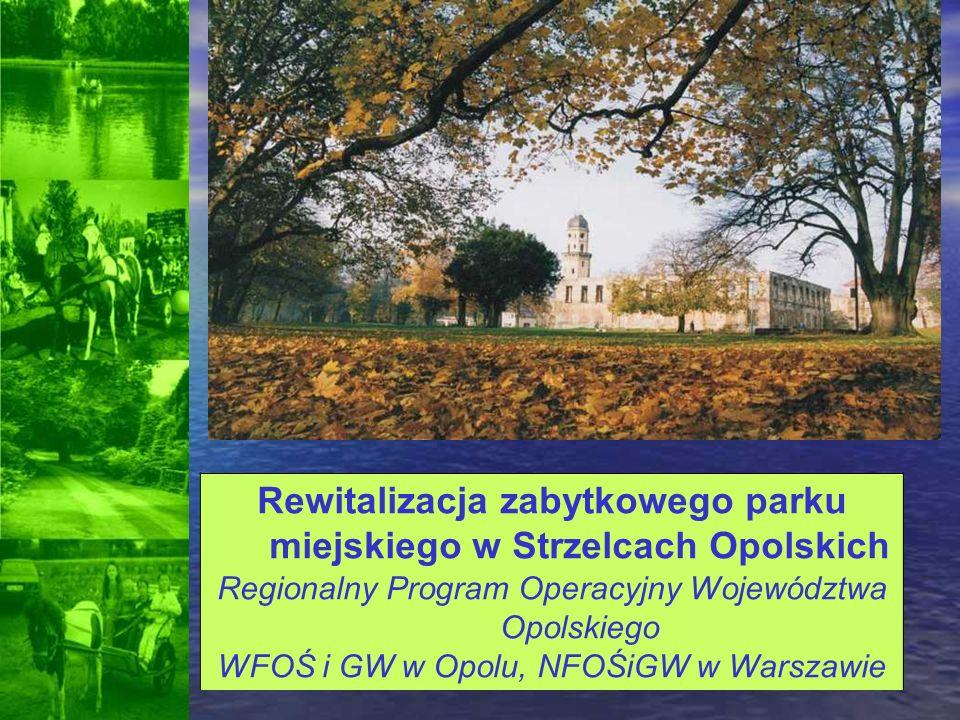 Rewitalizacja zabytkowego parku miejskiego w Strzelcach Opolskich Regionalny Program Operacyjny Województwa Opolskiego WFOŚ i GW w Opolu, NFOŚiGW w Wa