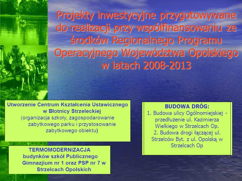 Projekty inwestycyjne przygotowywane do realizacji przy współfinansowaniu ze środków Regionalnego Programu Operacyjnego Województwa Opolskiego w latac