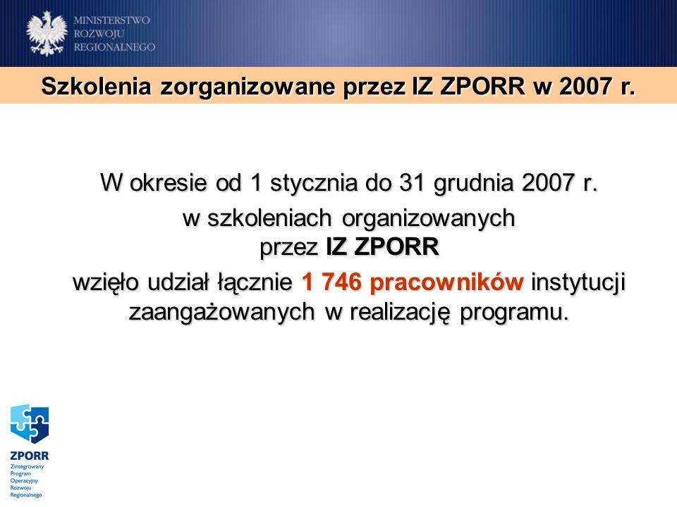 W okresie od 1 stycznia do 31 grudnia 2007 r. w szkoleniach organizowanych przez IZ ZPORR wzięło udział łącznie 1 746 pracowników instytucji zaangażow