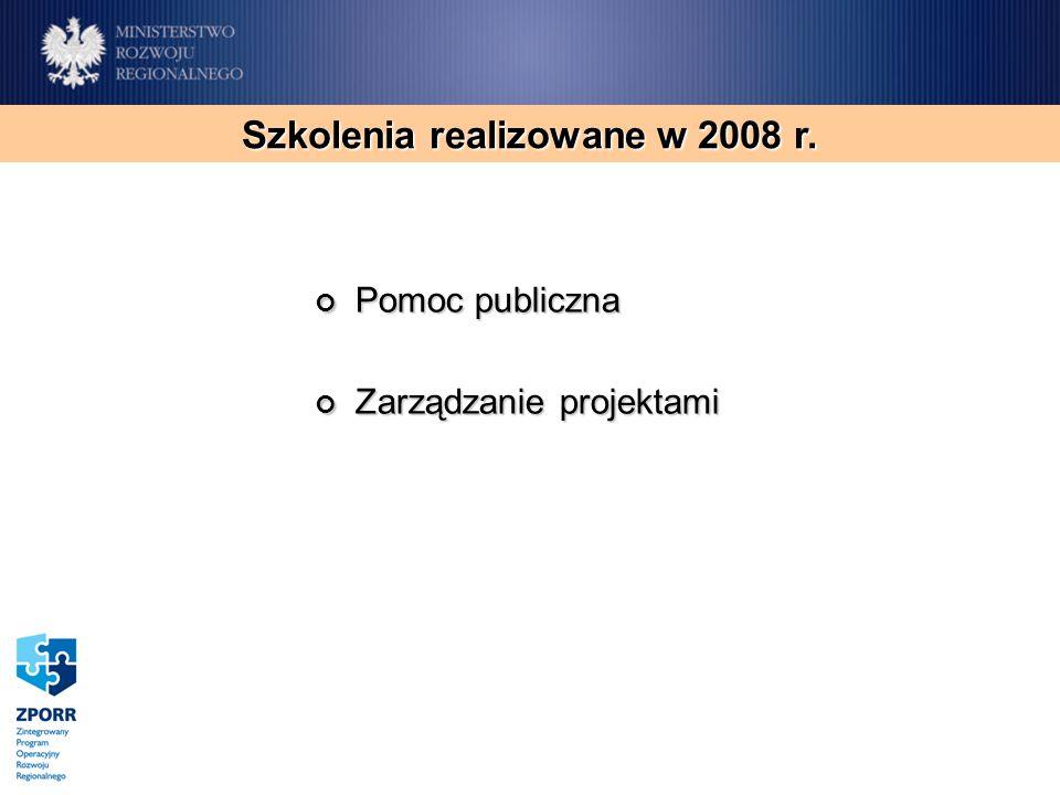 Pomoc publiczna Pomoc publiczna Zarządzanie projektami Zarządzanie projektami Szkolenia realizowane w 2008 r.