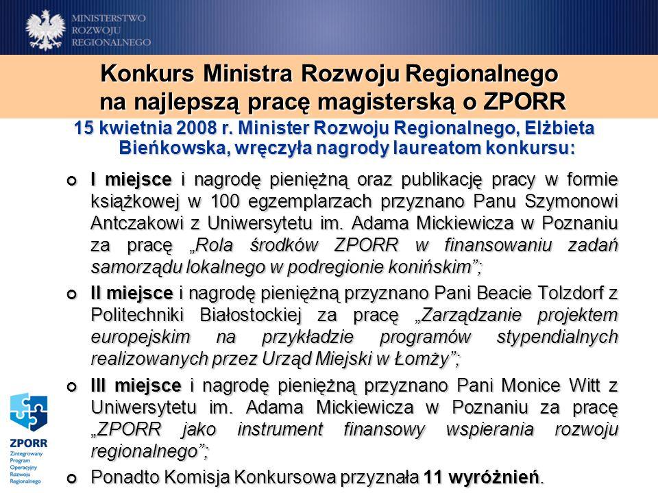I miejsce i nagrodę pieniężną oraz publikację pracy w formie książkowej w 100 egzemplarzach przyznano Panu Szymonowi Antczakowi z Uniwersytetu im. Ada