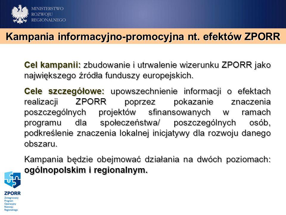 Cel kampanii: zbudowanie i utrwalenie wizerunku ZPORR jako największego źródła funduszy europejskich. Cele szczegółowe: upowszechnienie informacji o e