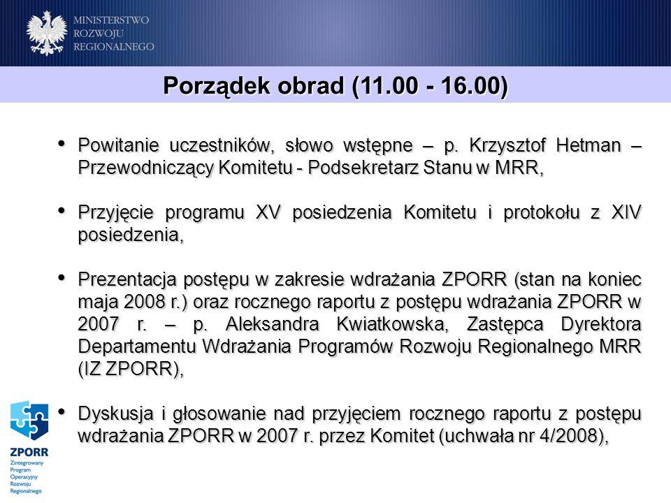 Porządek obrad (11.00 - 16.00) Powitanie uczestników, słowo wstępne – p. Krzysztof Hetman – Przewodniczący Komitetu - Podsekretarz Stanu w MRR, Powita