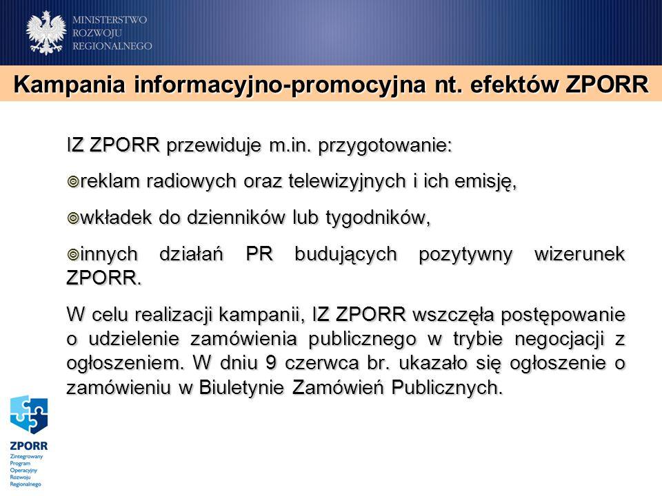 IZ ZPORR przewiduje m.in. przygotowanie: reklam radiowych oraz telewizyjnych i ich emisję, reklam radiowych oraz telewizyjnych i ich emisję, wkładek d