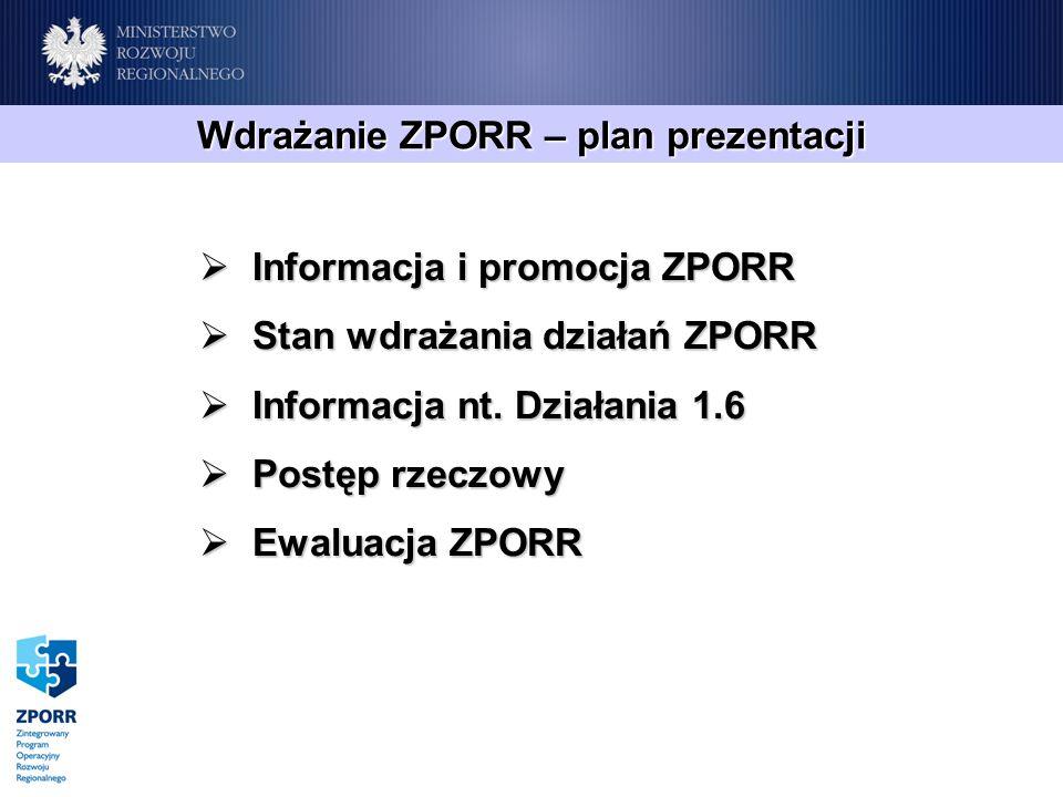 Informacja i promocja ZPORR Informacja i promocja ZPORR Stan wdrażania działań ZPORR Stan wdrażania działań ZPORR Informacja nt. Działania 1.6 Informa