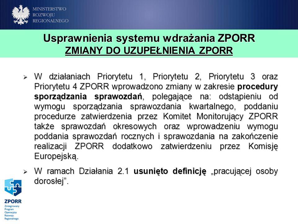 Usprawnienia systemu wdrażania ZPORR ZMIANY DO UZUPEŁNIENIA ZPORR W działaniach Priorytetu 1, Priorytetu 2, Priorytetu 3 oraz Priorytetu 4 ZPORR wprowadzono zmiany w zakresie procedury sporządzania sprawozdań, polegające na: odstąpieniu od wymogu sporządzania sprawozdania kwartalnego, poddaniu procedurze zatwierdzenia przez Komitet Monitorujący ZPORR także sprawozdań okresowych oraz wprowadzeniu wymogu poddania sprawozdań rocznych i sprawozdania na zakończenie realizacji ZPORR dodatkowo zatwierdzeniu przez Komisję Europejską.