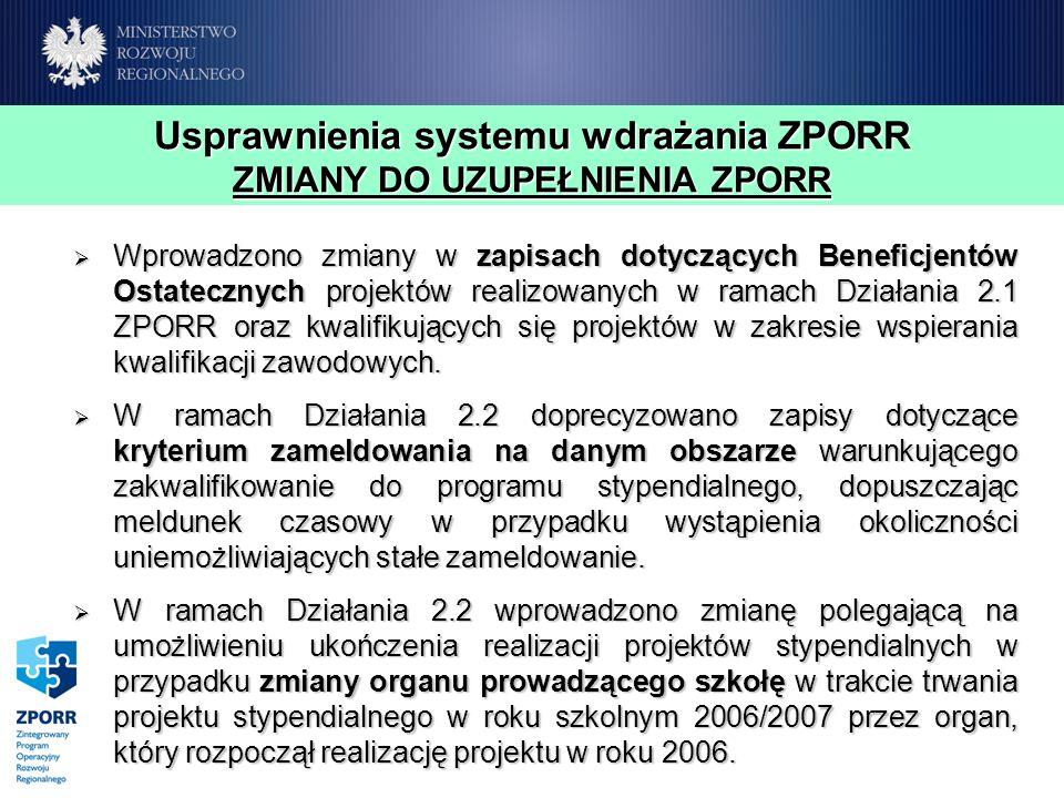 Usprawnienia systemu wdrażania ZPORR ZMIANY DO UZUPEŁNIENIA ZPORR Wprowadzono zmiany w zapisach dotyczących Beneficjentów Ostatecznych projektów reali