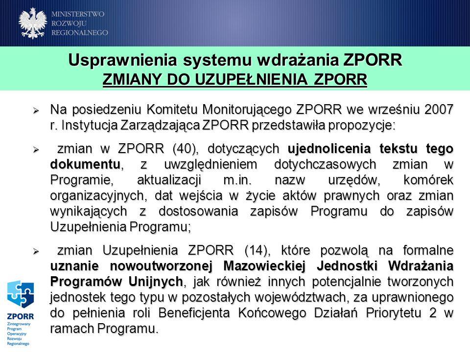 Usprawnienia systemu wdrażania ZPORR ZMIANY DO UZUPEŁNIENIA ZPORR Na posiedzeniu Komitetu Monitorującego ZPORR we wrześniu 2007 r. Instytucja Zarządza