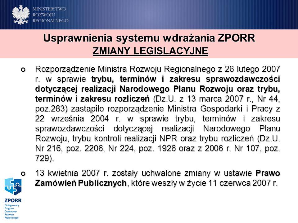 Rozporządzenie Ministra Rozwoju Regionalnego z 26 lutego 2007 r. w sprawie trybu, terminów i zakresu sprawozdawczości dotyczącej realizacji Narodowego