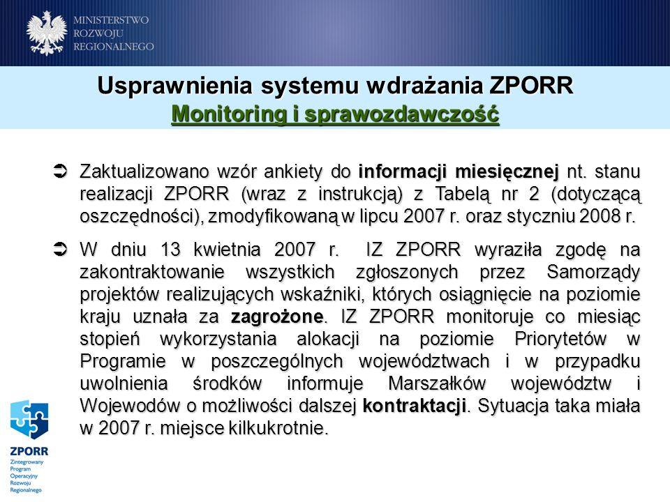 Usprawnienia systemu wdrażania ZPORR Monitoring i sprawozdawczość Zaktualizowano wzór ankiety do informacji miesięcznej nt. stanu realizacji ZPORR (wr
