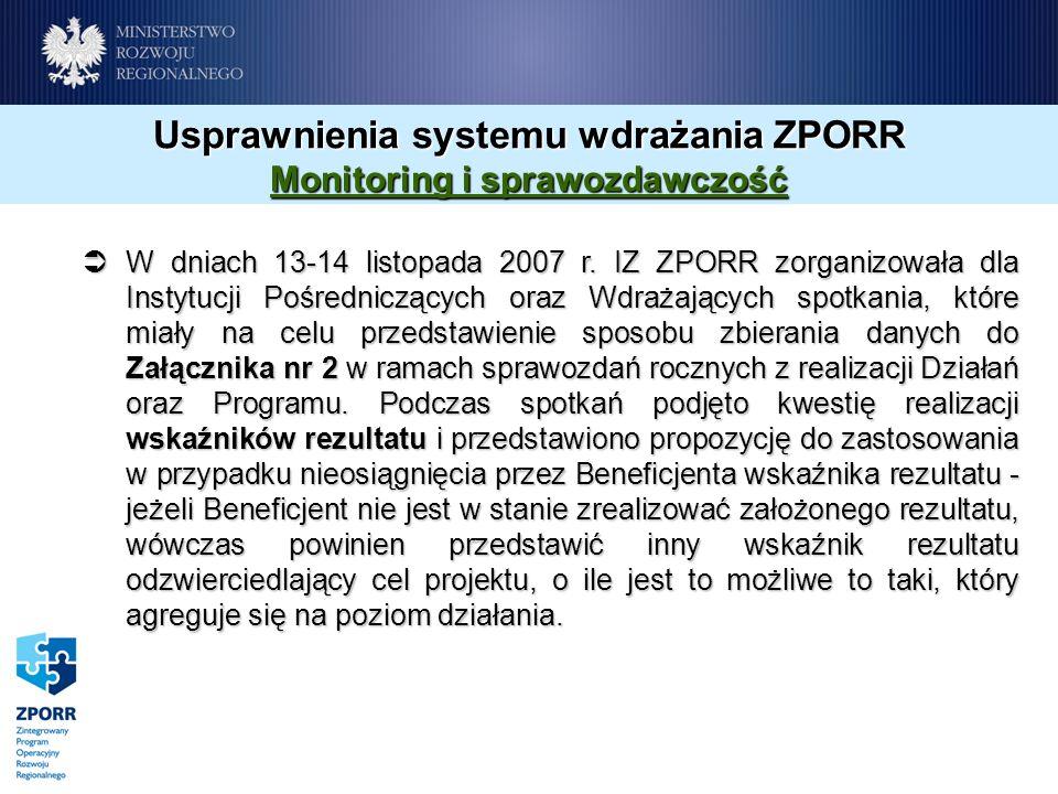 Usprawnienia systemu wdrażania ZPORR Monitoring i sprawozdawczość W dniach 13-14 listopada 2007 r. IZ ZPORR zorganizowała dla Instytucji Pośredniczący