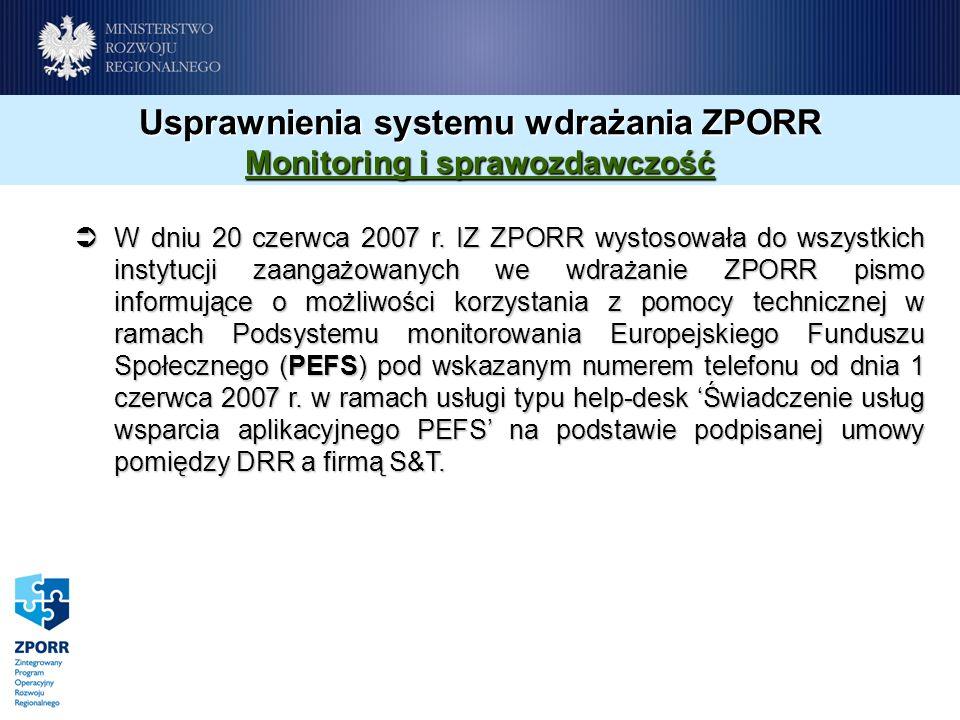 Usprawnienia systemu wdrażania ZPORR Monitoring i sprawozdawczość W dniu 20 czerwca 2007 r. IZ ZPORR wystosowała do wszystkich instytucji zaangażowany