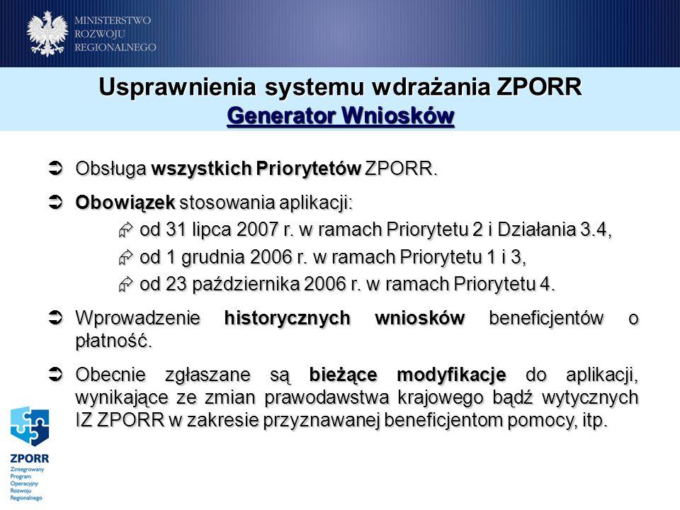Usprawnienia systemu wdrażania ZPORR Generator Wniosków Obsługa wszystkich Priorytetów ZPORR.