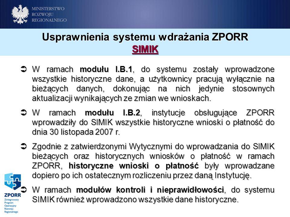Usprawnienia systemu wdrażania ZPORR SIMIK W ramach modułu I.B.1, do systemu zostały wprowadzone wszystkie historyczne dane, a użytkownicy pracują wyłącznie na bieżących danych, dokonując na nich jedynie stosownych aktualizacji wynikających ze zmian we wnioskach.