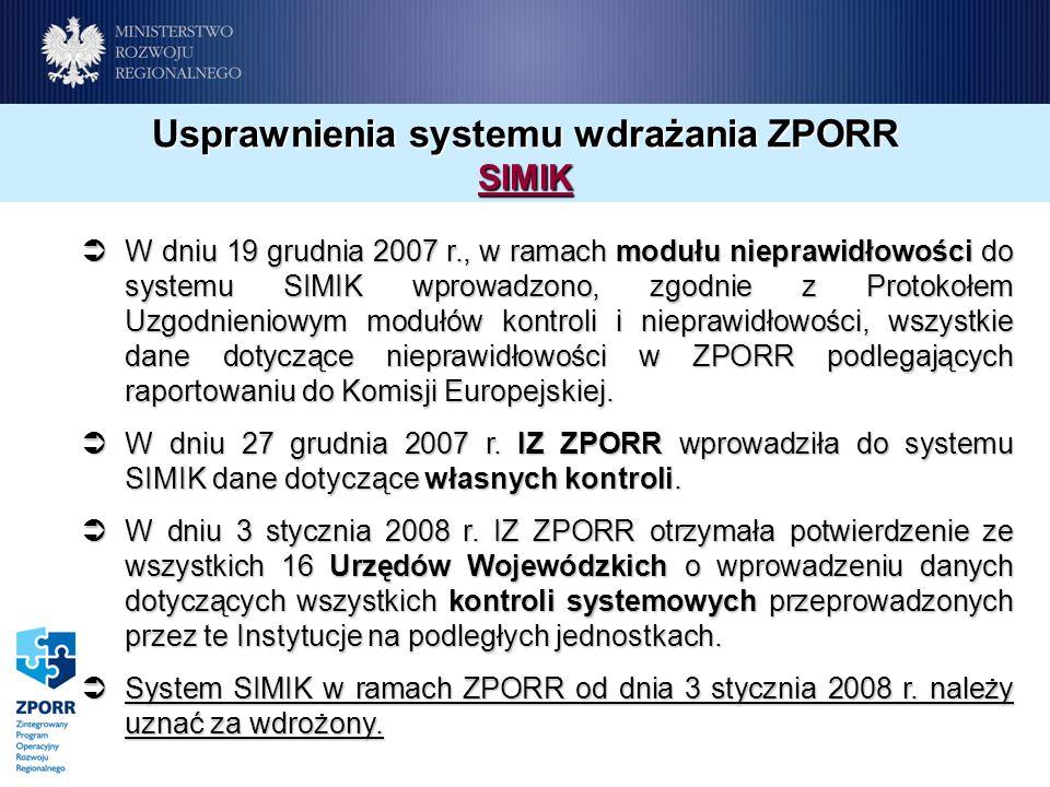 Usprawnienia systemu wdrażania ZPORR SIMIK W dniu 19 grudnia 2007 r., w ramach modułu nieprawidłowości do systemu SIMIK wprowadzono, zgodnie z Protokołem Uzgodnieniowym modułów kontroli i nieprawidłowości, wszystkie dane dotyczące nieprawidłowości w ZPORR podlegających raportowaniu do Komisji Europejskiej.