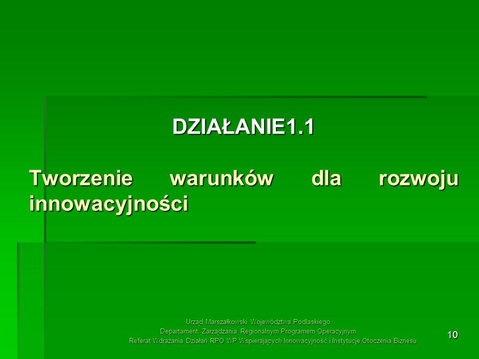 10 DZIAŁANIE1.1 Tworzenie warunków dla rozwoju innowacyjności Urząd Marszałkowski Województwa Podlaskiego Departament Zarządzania Regionalnym Programe