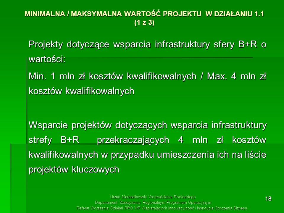 18 MINIMALNA / MAKSYMALNA WARTOŚĆ PROJEKTU W DZIAŁANIU 1.1 (1 z 3) Projekty dotyczące wsparcia infrastruktury sfery B+R o wartości: Min. 1 mln zł kosz