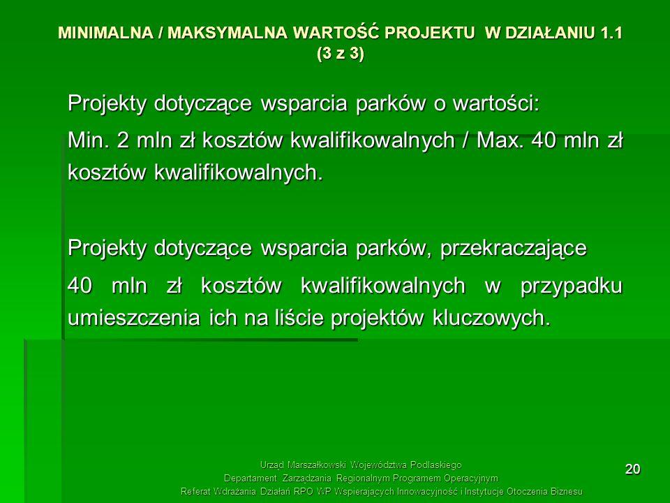 20 MINIMALNA / MAKSYMALNA WARTOŚĆ PROJEKTU W DZIAŁANIU 1.1 (3 z 3) Projekty dotyczące wsparcia parków o wartości: Min. 2 mln zł kosztów kwalifikowalny