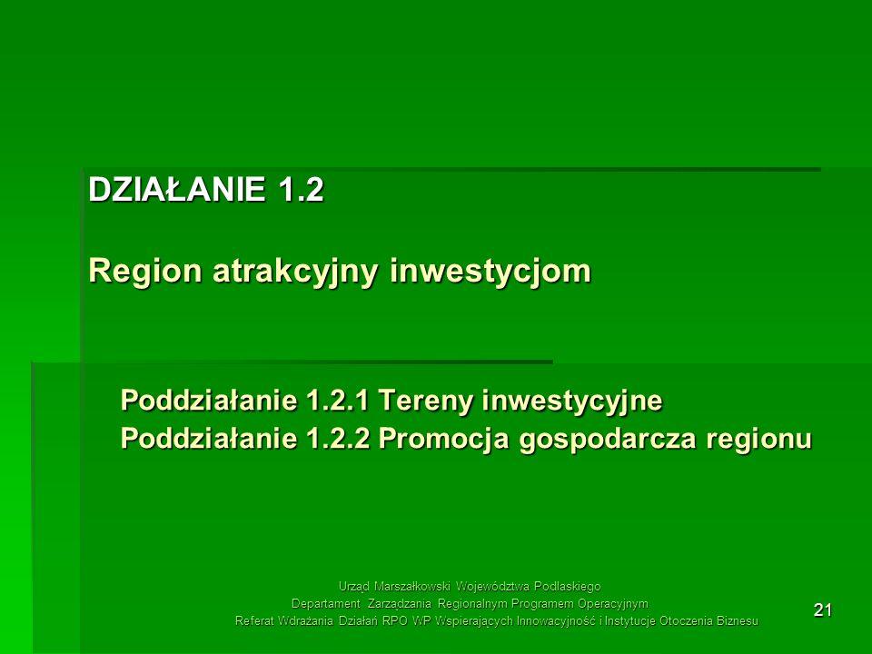 21 Poddziałanie 1.2.1 Tereny inwestycyjne Poddziałanie 1.2.2 Promocja gospodarcza regionu DZIAŁANIE 1.2 Region atrakcyjny inwestycjom Urząd Marszałkow