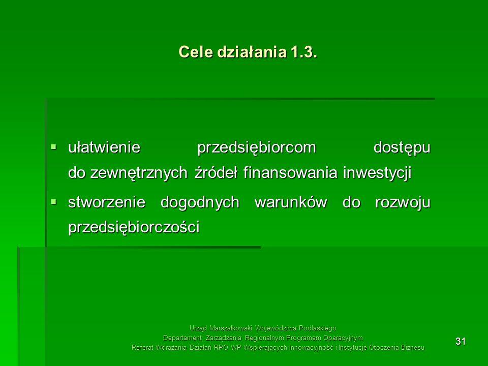 31 Cele działania 1.3. ułatwienie przedsiębiorcom dostępu do zewnętrznych źródeł finansowania inwestycji ułatwienie przedsiębiorcom dostępu do zewnętr