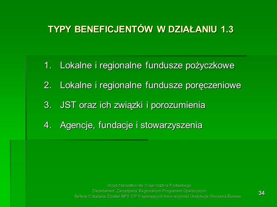 34 TYPY BENEFICJENTÓW W DZIAŁANIU 1.3 1.Lokalne i regionalne fundusze pożyczkowe 2.Lokalne i regionalne fundusze poręczeniowe 3.JST oraz ich związki i
