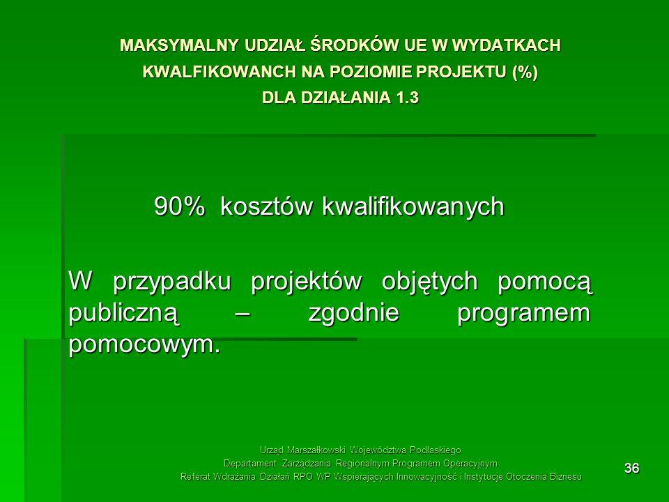 36 MAKSYMALNY UDZIAŁ ŚRODKÓW UE W WYDATKACH KWALFIKOWANCH NA POZIOMIE PROJEKTU (%) DLA DZIAŁANIA 1.3 90% kosztów kwalifikowanych W przypadku projektów
