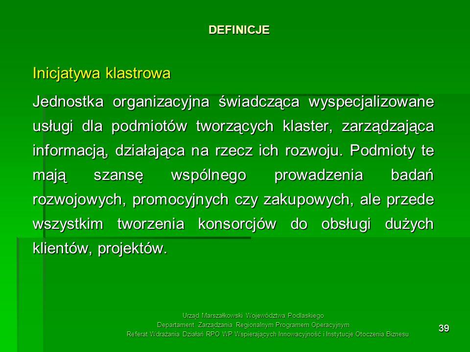 39 DEFINICJE Urząd Marszałkowski Województwa Podlaskiego Departament Zarządzania Regionalnym Programem Operacyjnym Referat Wdrażania Działań RPO WP Ws