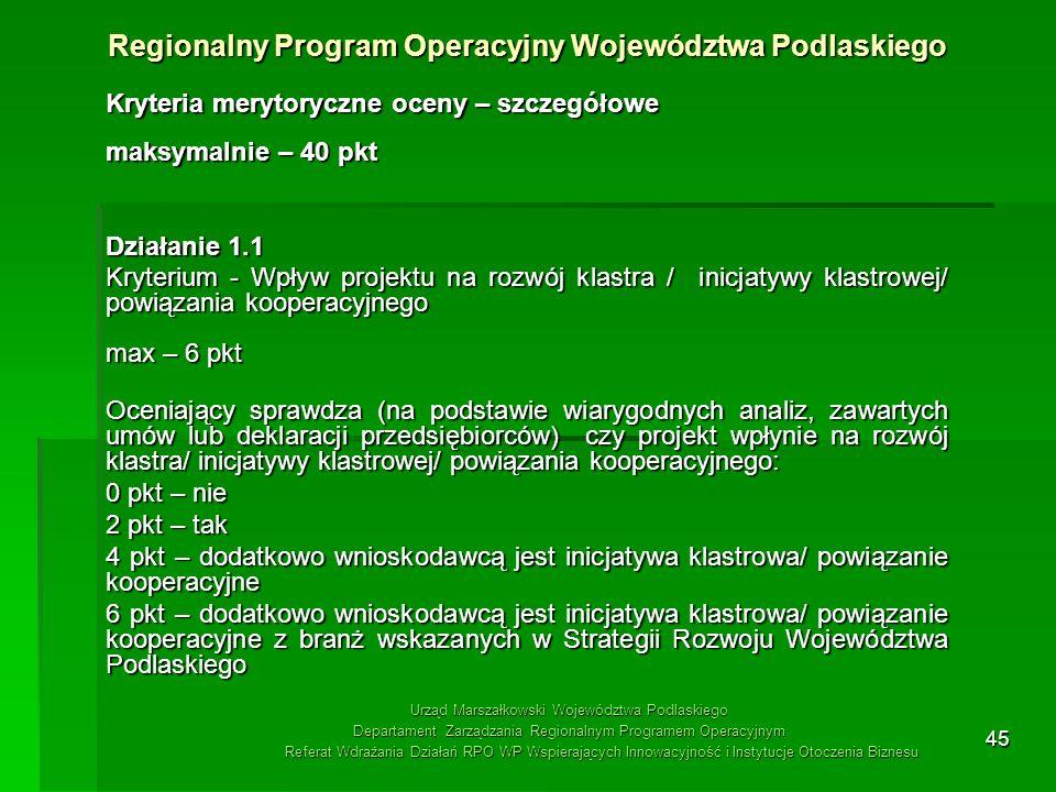 45 Kryteria merytoryczne oceny – szczegółowe maksymalnie – 40 pkt Działanie 1.1 Kryterium - Wpływ projektu na rozwój klastra / inicjatywy klastrowej/