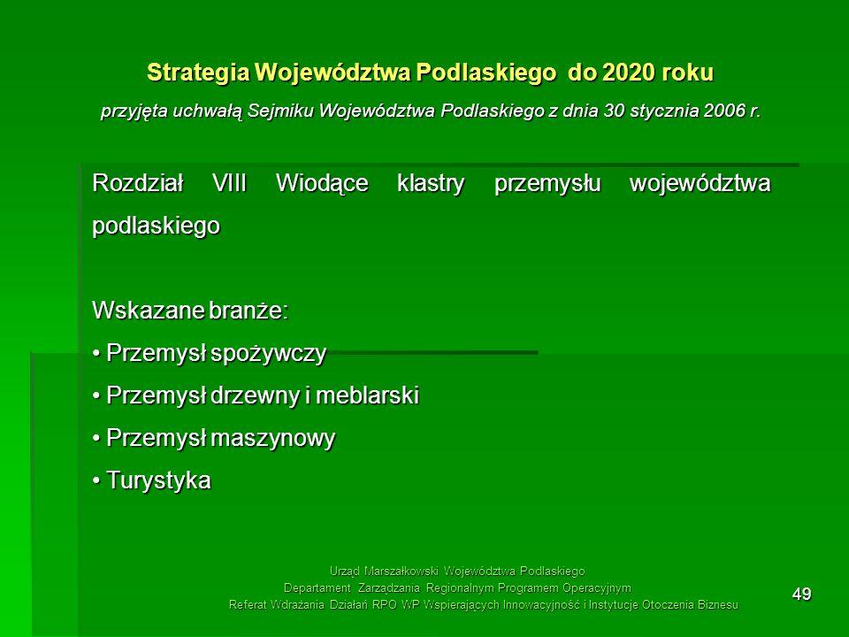 49 Strategia Województwa Podlaskiego do 2020 roku przyjęta uchwałą Sejmiku Województwa Podlaskiego z dnia 30 stycznia 2006 r. Rozdział VIII Wiodące kl