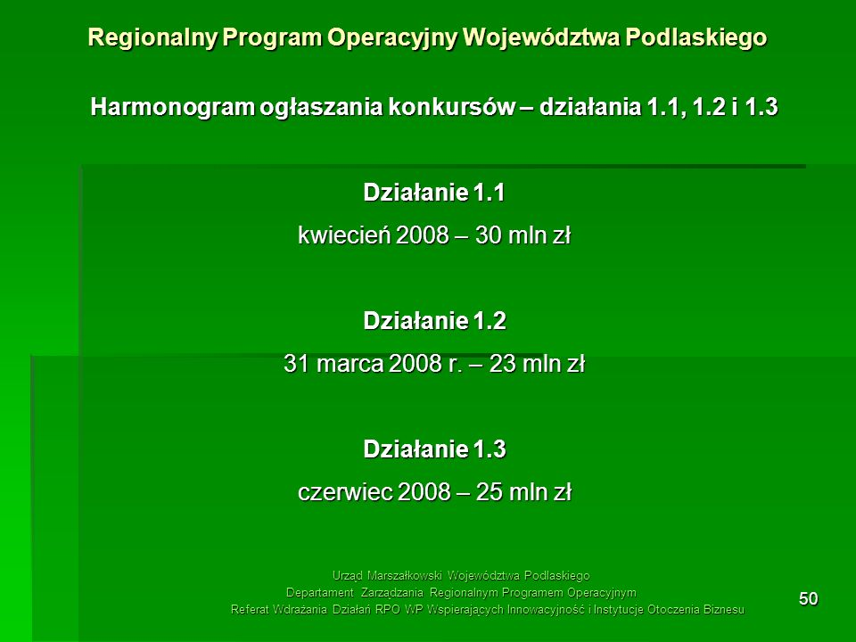 50 Harmonogram ogłaszania konkursów – działania 1.1, 1.2 i 1.3 Działanie 1.1 kwiecień 2008 – 30 mln zł Działanie 1.2 31 marca 2008 r. – 23 mln zł Dzia