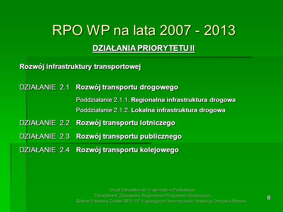 6 RPO WP na lata 2007 - 2013 DZIAŁANIA PRIORYTETU II Rozwój infrastruktury transportowej DZIAŁANIE 2.1 Rozwój transportu drogowego Poddziałanie 2.1.1.