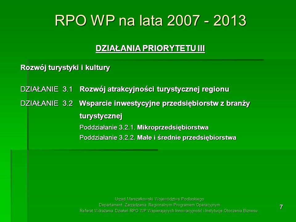 7 RPO WP na lata 2007 - 2013 DZIAŁANIA PRIORYTETU III Rozwój turystyki i kultury DZIAŁANIE 3.1 Rozwój atrakcyjności turystycznej regionu DZIAŁANIE 3.2