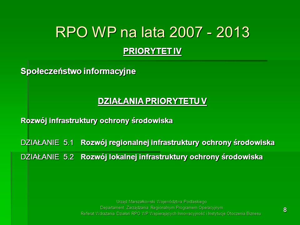 8 RPO WP na lata 2007 - 2013 PRIORYTET IV Społeczeństwo informacyjne DZIAŁANIA PRIORYTETU V Rozwój infrastruktury ochrony środowiska DZIAŁANIE 5.1 Roz