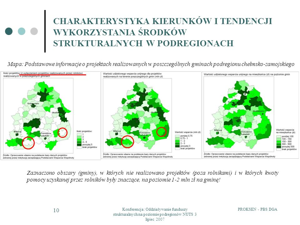 PROKSEN - PBS DGAKonferencja: Oddziaływanie funduszy strukturalnych na poziomie podregionów NUTS 3 lipiec 2007 10 CHARAKTERYSTYKA KIERUNKÓW I TENDENCJI WYKORZYSTANIA ŚRODKÓW STRUKTURALNYCH W PODREGIONACH Mapa: Podstawowe informacje o projektach realizowanych w poszczególnych gminach podregionu chełmsko-zamojskiego Zaznaczono obszary (gminy), w których nie realizowano projektów (poza rolnikami) i w których kwoty pomocy uzyskanej przez rolników były znaczące, na poziomie 1-2 mln zł na gminę!